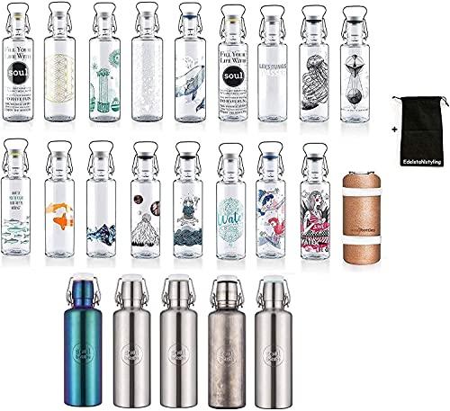 Soulbottle Trinkflasche Glasflasche Wasserflasche 600ml, 1000ml - 100% Plastikfrei (1000ml, souldiver)