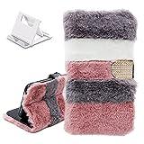 Yewos Hülle Kompatibel mit Huawei P40 Pro,Plüsch Pelz Flip Brieftasche Geldbörse Handyhülle,Soft Hase Süße Winter Warm Flauschig Lederhülle Klappbar Stoßfeste Schutzhülle,Grau Weiß