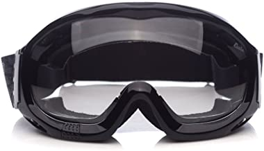 'Fit Over Glasses' Anti-fog Riding Goggles with Sponge Liner Adjustable Elastic Headband (Clear Lens Normal Vision)