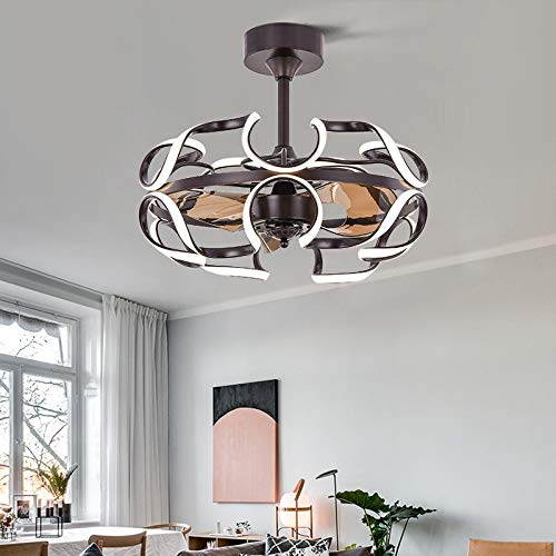 OUPPENG Lámpara de Ventilador Restaurante Sala de estar Inicio Nórdico Creativo Personalidad Dormitorio Lámpara Silent Techo Ventilador Lámpara (Blade Color : 4)