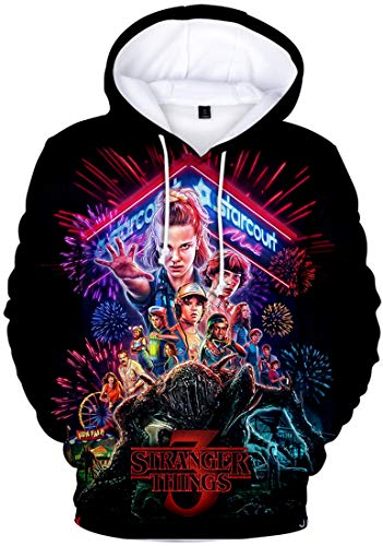 FLYCHEN Sudadera Stranger Things 3 New Season para Ninas 3D Impreso Digital Select Your Character Portrait de Manga Larga Pullover - Grupo 3664 - M