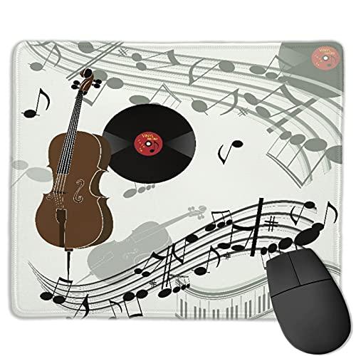 Zollamt Mauspad,Cello Violinpiano Grammophon Schallplatte Alt,Quadratisches Gaming-Mauspad, rutschfeste Gummibasis für Heim-Laptop, Reisen, personalisierter Schreibtisch, 9,5
