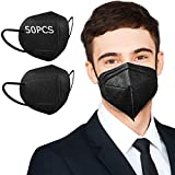 KN95 Face Mask, 50 Pack Black KN95 Face Mask for Men, Masks for Women Included on EUA List, Breathable Cup Dust Masks with Nose Wire for Adults Working out, 5 Layers Filter Efficiency≥95%