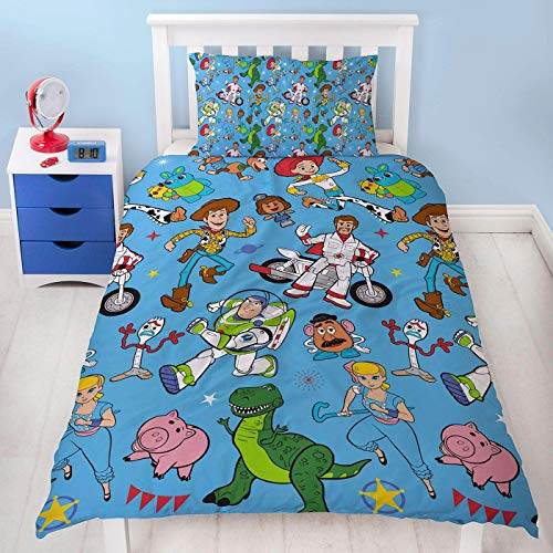 Toy Story 4 Single Duvet Cover Rescue Design | Reversible Two Sided Bedding Duvet Cover Featuring Woody & Buzz Lightyear With Matching Pillow Case