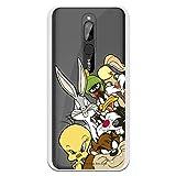 Funda para Xiaomi Redmi 8 Oficial de Looney Tunes Personajes Siluetas Transparente para Proteger tu móvil. Carcasa para Xiaomi de Silicona Flexible con Licencia Oficial de Warner Bros.