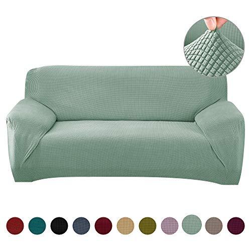 Funda de Sofá Ajustable 2 Plazas,Tejido Jacquard de Poliéster Cubre Sofa Universal Cubierta de Muebles contra Mascotas Polvo,Desmontable y Lavable,Funda Protectora para Sofá(Verde Claro,2 Plazas)