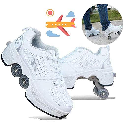Hmyloz 2 in 1 Rollschuh Sneaker Unisex Kinder Automatisch Gehen Doppelreihe Rad Verformen Verformungsschuhe,39.5