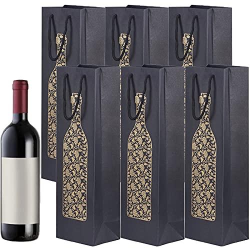 10 pieces Bolsas de Botella de Vino Bolsas de Regalo de Vino Bolsas de Bolsa de Papel para Vino con Asas de Cuerda para Aniversario Fiestas Cena y Festival 11 x 9 x 35CM