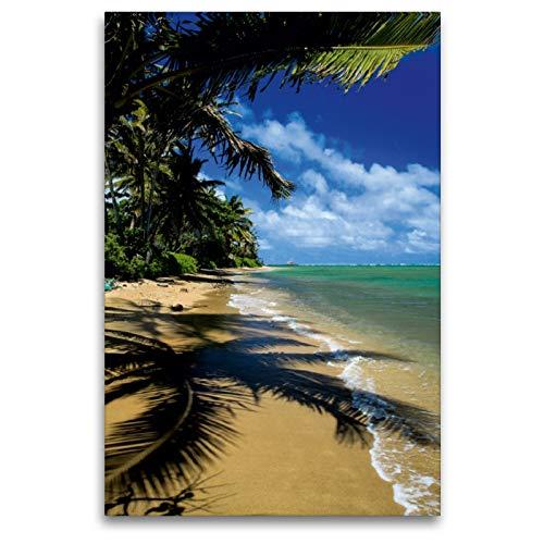 Premium Textil-Leinwand 80 x 120 cm Hoch-Format Pukoo Beach - Molokai | Wandbild, HD-Bild auf Keilrahmen, Fertigbild auf hochwertigem Vlies, Leinwanddruck von Florian Krauss - www.lavaflow.de