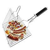 Barbacoa Parrilla Portátil Plegable Acero Inoxidable 430 Plegable Canasta de Asado de Pescado con Mango de Madera para Pescado, Verduras, Camarón, Carne 32x22x1.8cm (Regular)