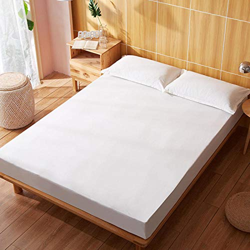 YFGY Wrinkle Resistant Fitted Bed Sheet Double,Cotton Fitted Sheet Quality Solid Color, Bed Sheet Four Corners With Elastic Band Mattress Cover white 150 * 200cm