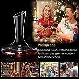 ADMY Wein Dekanter, 1.8L Weinkaraffe Set aus Kristallglas, Rotwein Bleifreies Glasdekanter, Dekantiergefäß Glasbelüftungsweinkaraffe Decanter, Dekantierflasche Geschenk für Weihnachten Weinliebhaber - 7