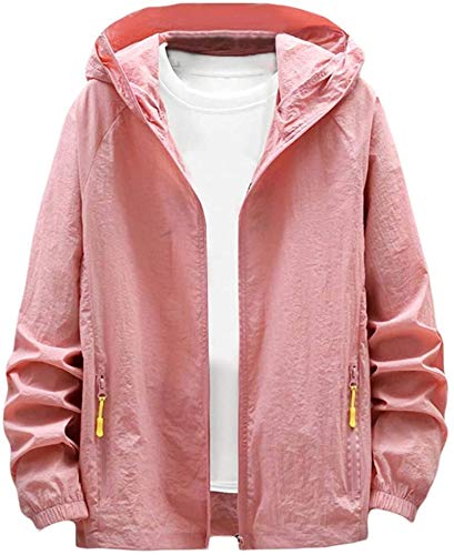AiMei Men Summer Full-Zip Plain Sun Protection Hooded Windbreaker Bomber Jacket Coat,Pink,Large