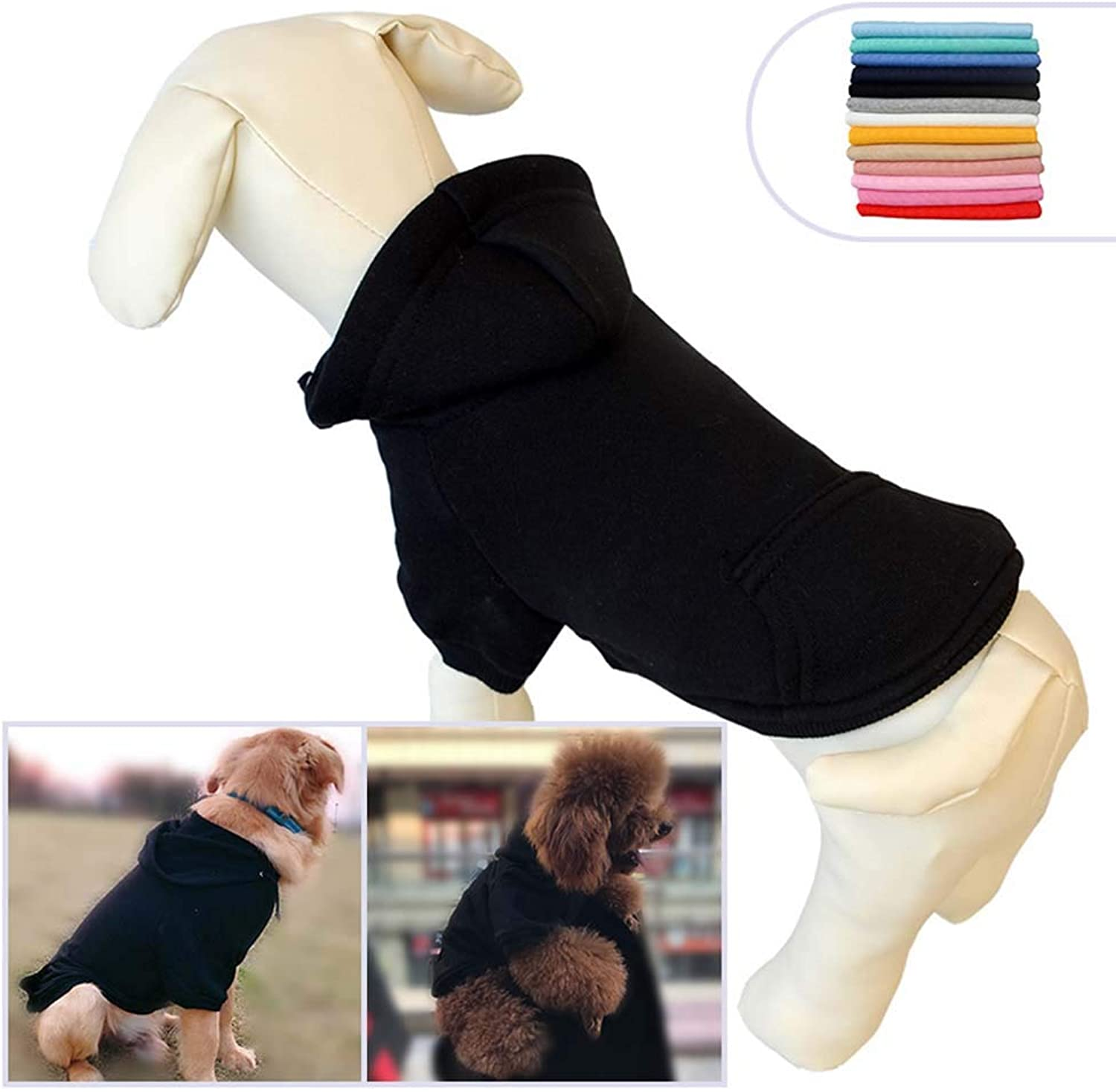 Pet Clothing Clothes Dog Coat Hoodies Winter Autumn Sweatshirt for Small Middle Large Size Dogs 11 colors 100% Cotton 2018 New (S, Black)