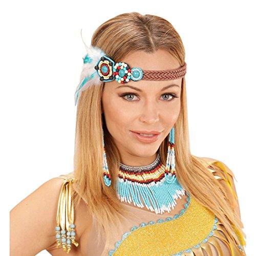Amakando Indianer Ethno Schmuck mit Haarband, Ohrringe und Kette Indianerschmuck türkis Indianische Kostümaccessoires Kostümzubehör Damen Indianerin Kostüm Set