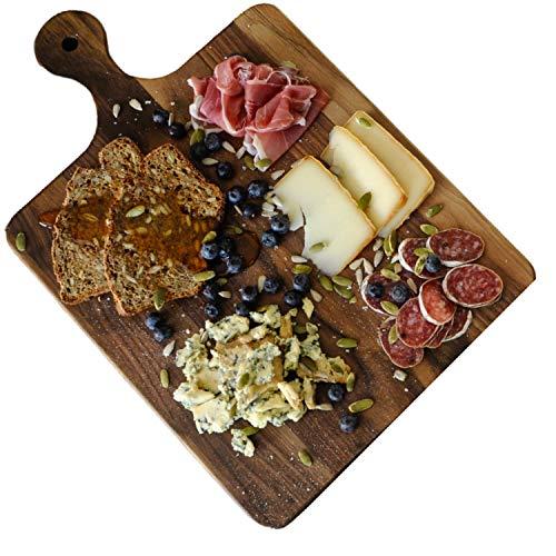 Virginia Boys Kitchens Tagliere Grande da Cucina in Legno Noce - 41 x 25 Tagliere con Manico Professionale e Rustico il Solco del Succo per Frutta, Verdura e Carne