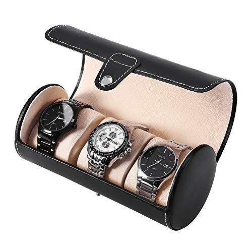 Caja de relojes, caja redonda para relojes, de piel sintética, expositor, caja de relojes, 3 rejillas cilíndricas, cierre de metal, estuche de almacenamiento para riel para regalo de viaje (negro)