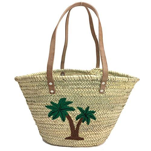 BUCKLE UP - Strandtasche, Korbtasche Tasche - Palme - mit Schulterriemen aus Leder