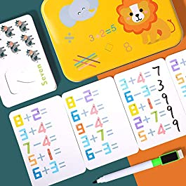 Numbers Flash Cards Set, Kids Learning Math Box, Wooden Numbers Card Board Matching Puzzle Game,Travel Blocks Playing Box, Counting Stick Rod with Storage Box, Educational Toy Gift Preschool Classroom