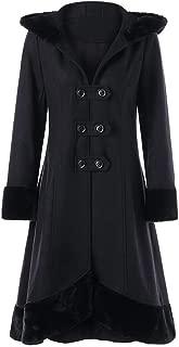 PPkloth Womens Plus Size Parka Double Row Faux Fur Collar Hooded Strap Coats Long Woolen Black Skirt Outwear