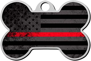 Custom Firefighter Red Line Flag Pet ID Tag Bone Shape Dog Tags & Cat Tags Identity Tags