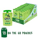 GoGo squeeZ Applesauce on the Go, Apple Apple, 3.2 Ounce (18 Pouches), Gluten Free, Vegan Friendly, Healthy Snacks, Unsweetened Applesauce, Recloseable, BPA Free Pouches