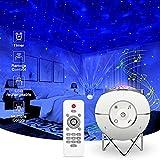 ibell Proyector Estrellas,Lámpara LED de proyección musical recargable por USB con 14 modos y mando a distancia y temporizador y soporte de metal para niños adultos regalos para la noche (Blanco)