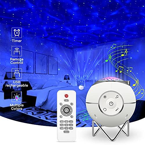 ibell Projecteur Ciel Étoile Rotatif,Lampe Projecteur Rechargeable USB LED Musicale Avec 14 Modes & Télécommande & Timer & Support métal pour Enfants Adultes Cadeaux Maison Soirée Décoration (Blanc)