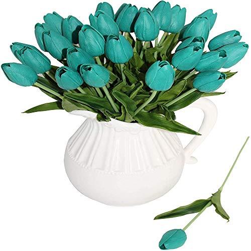 yueyue947 / Tulipanes Artificiales 10 Cabezas Mini Toque Real Flores Artificiales Tulipán Falso para la decoración del hogar Fiesta de Boda Ramo de Flores de Bricolaje Teal Oscuro