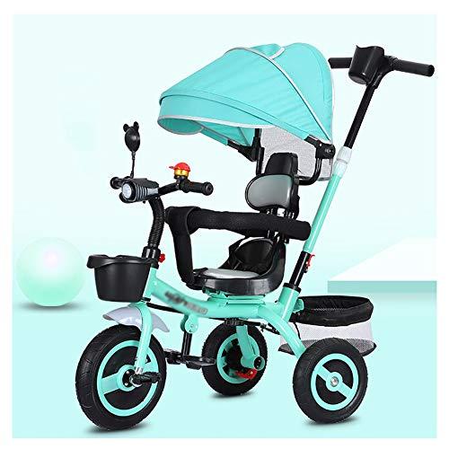 TQJ Cochecito de Bebe Ligero Niños Trike Triciclo con música e iluminación de 3 Ruedas niños pequeños niños de la Bici 8 Meses a 6 años (Color : 3)