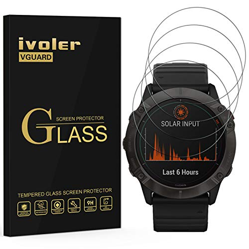 VGUARD 4 Pack Screen Protector for Garmin fenix 6X Pro and Solar Editions 51mm and Sapphire, Tempered Glass Film [9H Hardness] [Anti-Scratch] [Bubble Free] [Crystal Clear]