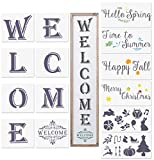 Seasonal Welcome Stencils, 14 Pcs Vertical Welcome Reusable Stencils for Front Door, Porch Painting on Wood Art DIY Projects