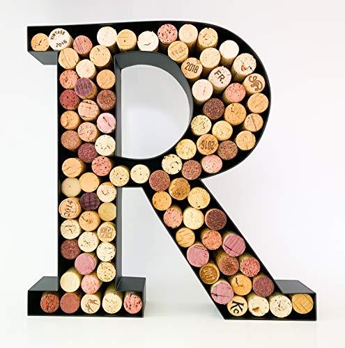 Wine Cork Holder - Metal Monogram Letter (A-Z) (Letter R)