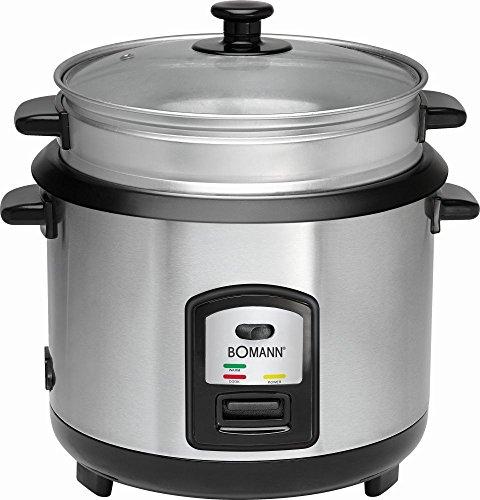 elektrischer Reiskocher für max. 2,5 kg gekochten Reis mit Löffel + Messbecher Edelstahl herausnehmbar Dampfgarer Multi-Kocher (sparsame 700 Watt + Warmhaltefunktion)