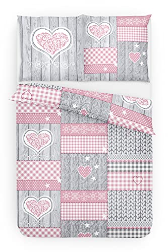 Träumschön Juego de ropa de cama de franela de 135 x 200 cm, 2 piezas, diseño de corazón, color...