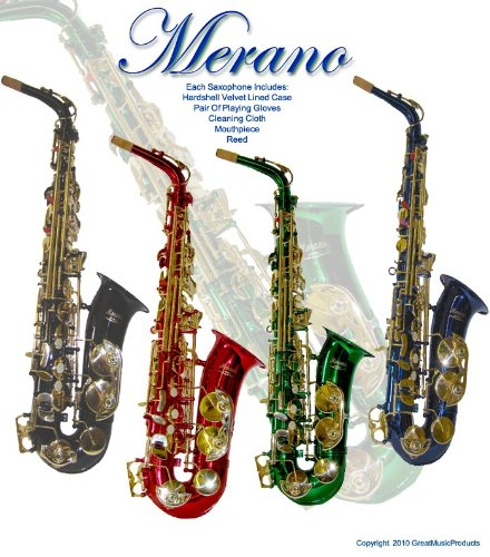 Merano E Flat Blue/Gold Alto Saxophone with Case + Mouth Piece + Metro Tuner + Black Music Stand + 11 Reeds