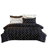 Bettw - Juego de cama de microfibra hipoalergénica con diseño geométrico de rayas, con cierre de cremallera, 1 funda nórdica (220 x 230 cm) y 2 fundas de almohada