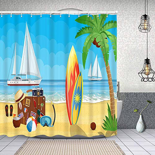MAYUES Fabric Shower Curtains vintage old travel suitcase on paradise waterproofBathCurtainswith Hook 72x72 inch