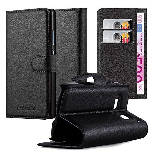 Cadorabo Hülle für Alcatel OneTouch POP C3 in Phantom SCHWARZ - Handyhülle mit Magnetverschluss, Standfunktion & Kartenfach - Hülle Cover Schutzhülle Etui Tasche Book Klapp Style