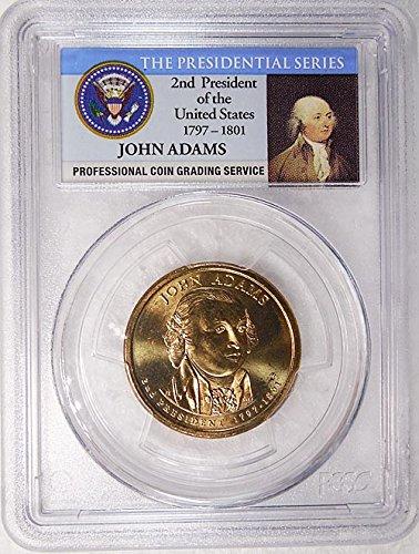 2007 P Pos. B John Adams Presidential Dollar PCGS MS 65 FDI Presidential Label Holder