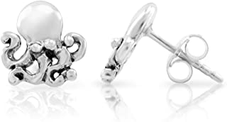 925 Sterling Silver Tiny Little Octopus 10 mm Post Stud Earrings