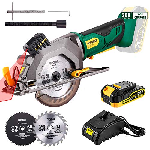 "POPOMAN Cordless Circular Saw, 4-1/2"" Saw with Laser Guide, 20V 2.0Ah Battery, 1H Charger, 9.5"" Base Plate, Max Cutting Depth 1-11/16'' (90°), 1-1/8'' (45°), Wood, Plastic and Metal Cuts - MTW80B"