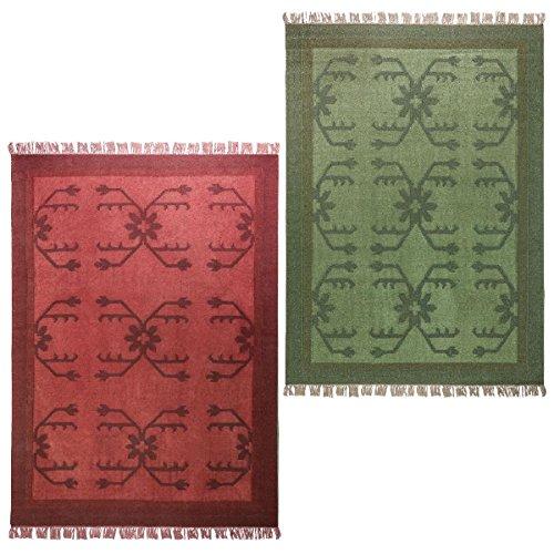 Morgenland Kelim Tapis Vintage AMAZONA 200 x 80 cm Rouge Kilim camaïeu tissé à la main laine vierge Chambre D'Enfant Peut être utilisé des deux côtés
