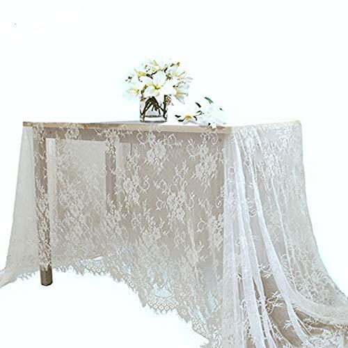 Yizunnu - Mantel Rectangular de Encaje Blanco para Bodas, Banquetes, 150 x 300 cm, A, 150 * 300cm