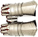 Medieval Warrior Brand Metal Gothic Knight Style Gauntlets Fully Functional Armor Gloves (Silver)