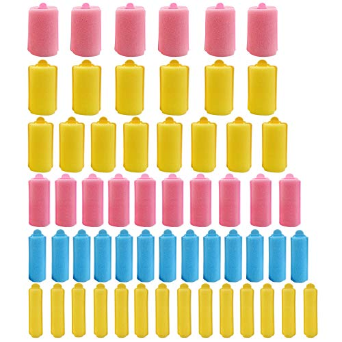 56 Pieces 6 Sizes Foam Sponge Hair Rollers Mini Foam Hair Styling Curlers Flexible Sponge Curlers with Storage Bag Soft Sleeping Hair Curlers for Adults and Kids Pink Yellow Blue Random Color