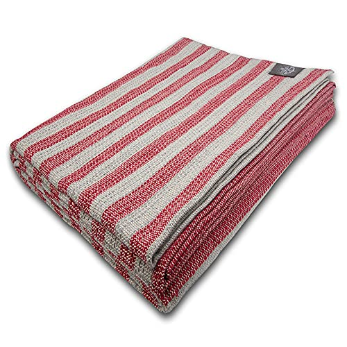 "Craft Story Decke ""Yara"" I grau-rot gestreift aus 100prozent Baumwolle I Tagesdecke I Sofa-Decke I Überwurf I Picknickdecke I Nutz- und Schutzdecke I ca.170 x 220cm"