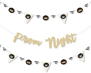 Prom - Prom Night Party Letter Banner Decoration - 36 Banner Cutouts and No-Mess Real Gold Glitter Prom Night Banner Letters