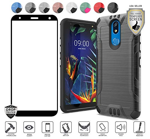 Compatible for LG Solo LTE L423DL/K40/Harmony 3 Case, with [Full Tempered Glass Protector], Tough Premium Hybrid with [Shock Proof] [Magnetic Mount Capability] [Chrome Buttons] Cover Case (Black)