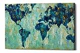 Epic Graffiti Map of The World Giclee Canvas Wall Art, 26' x 34', Blue